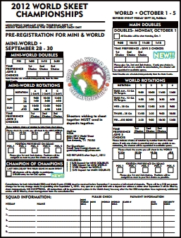 2012 World Skeet Championships Registration Form